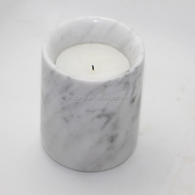 Home Decoration Natural Carrara White Marble Stone Candle Jar Container Cup With Lids