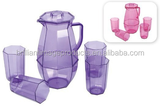Plastic Water Pitcher with 4 Cup Set BPA free