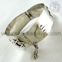 Sterling Silver Jewellery, Indian Silver Bangle, Fashion Silver Jewellery 0BGPS1054-3