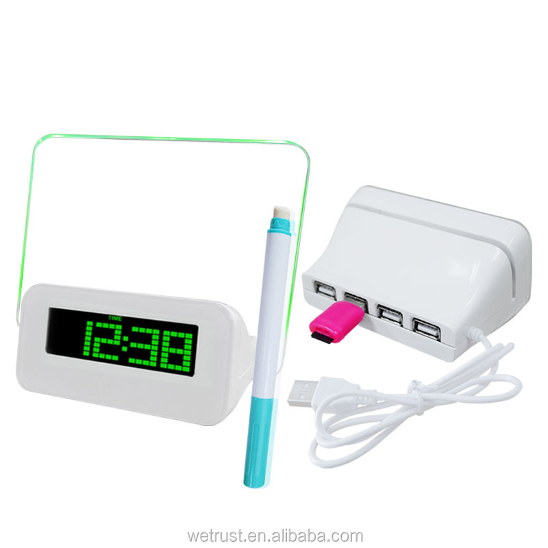 Funny Talking LED Message Memo Board Recordable Alarm Clock