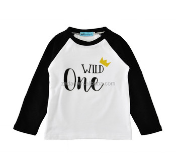 Wild once wholesale baby tshirts icing kids long sleeve latest design top