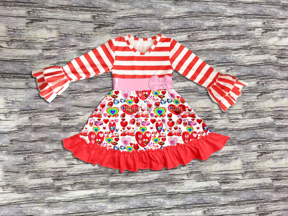 Fashion kid dress love heart print and bow baby girl party dress children frocks designs Valentines Day baby online dress