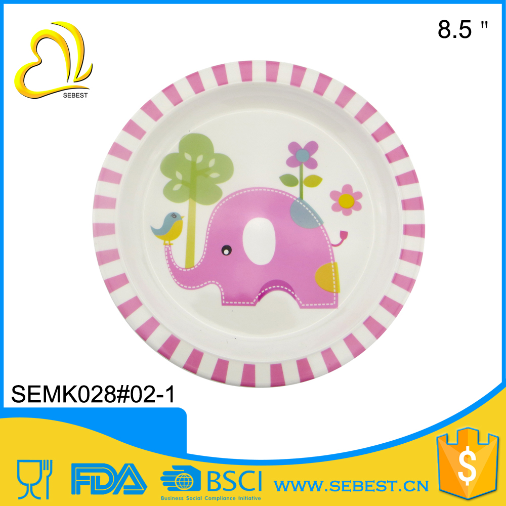 camp casual 8.5'' New kid's design melamine round children <strong>plate</strong>