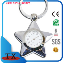 Premium gift star shape clock keychain/ necklace pendant