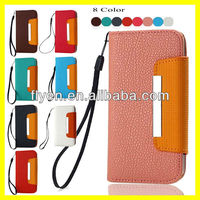 "Plain Color Luxury Handbag Hot Selling Wallet Case for Apple iPhone 5"" Leather Case Card Holder Lanyard Magnetic Metal Wholesale"