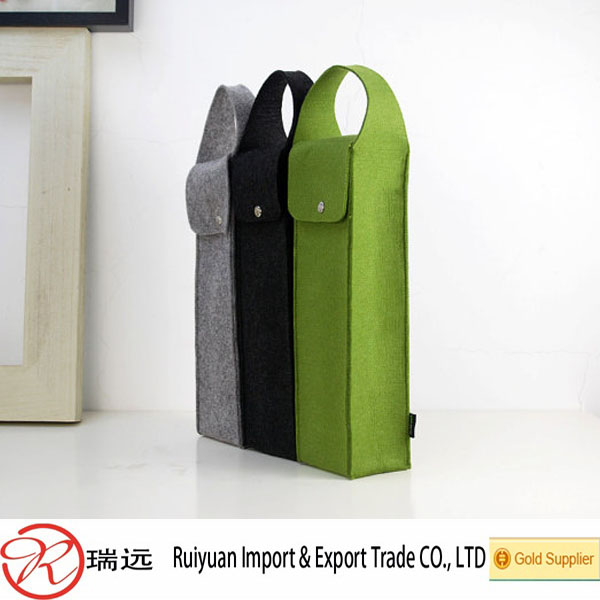 2016 Whosale soft material Easy carrying Felt Wine Bag /Felt Wine Bottle Cover with handle