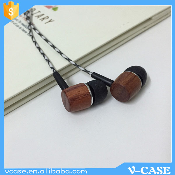 Fashion design wood material hands free rope cord earphone with mic for mobile phone