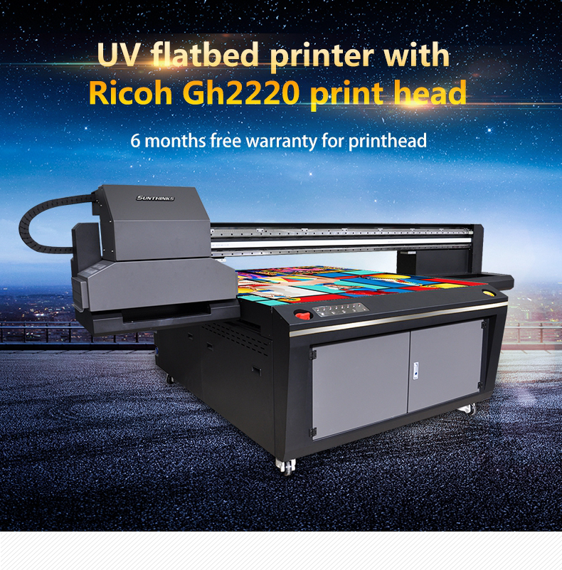 Sunthinks 150*130cm working size high quality automatic two led lamp LED-UV Industrial Printer Ricoh GH2220 phone case printer