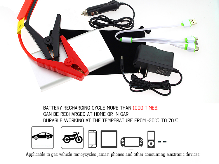 Mini Car Battery Booster Portable Slimmest Multi-function Auto Jump Starter Power Bank for Cars
