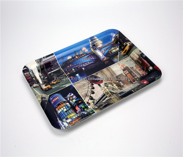 High Quality New Desing Full Print Rectangle Plastic Serving Tray