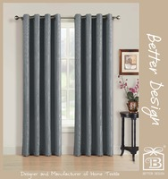 100 POLYESTER FAUX LINEN JACQUARD WINDOW CURTAIN WITH 8 GROMMETS