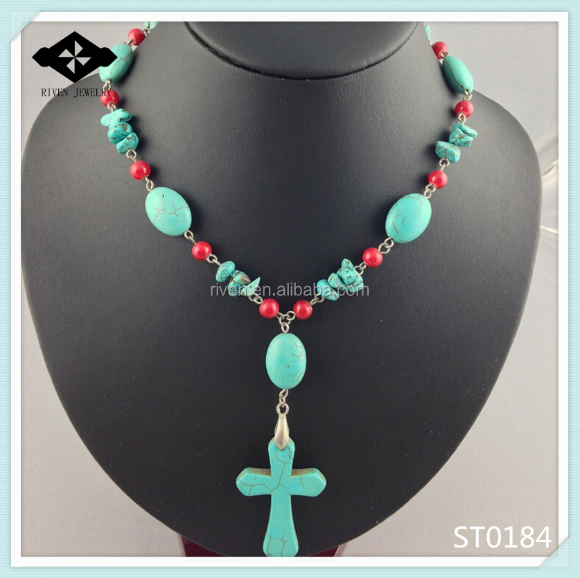 ST0184 Personal Stone Necklace With Big Turquoise Cross Pendant Christmans Gift Love Jesus Necklace.jpg