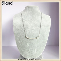 "China Wholesale Sterling Sliver European Style 925 silver Curved Tube Necklace with 18"" box chain delicate"