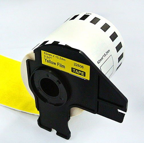 compatible Black on Yellow DK-22606 62mmx15.24m thermal paper rolls for QL label printers
