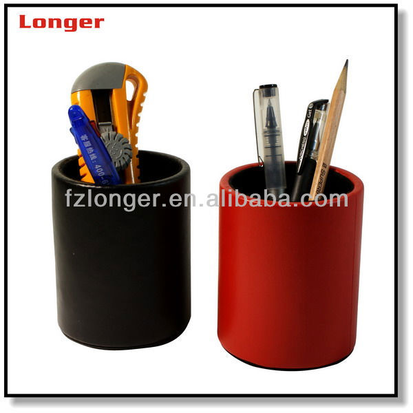 High Quality Pu Leather Handmade Pen Holder With Digital Clock