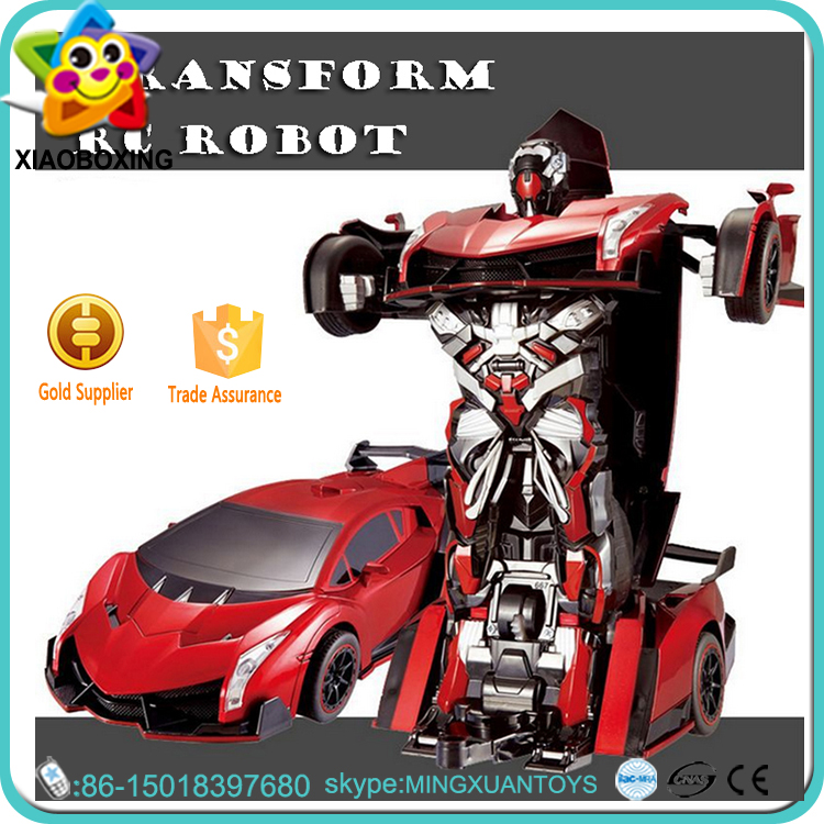 2016 new toys plastic remote control stunt car change robot for kids