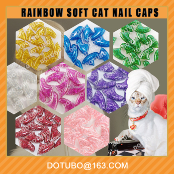 2016 new colour Natural Vinyl Resin Cat Paws Claws cat Nail Caps with free glue