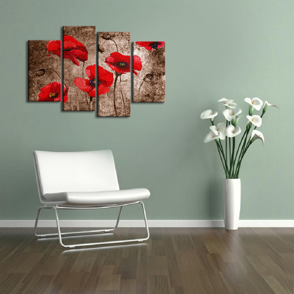 Acrylic Multiple Panel Handpainted Group Flower Painting