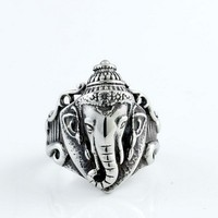 Silver Colour Elephant Nose Titanium Steel Vintage Band Ring