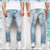 Vogue Style Customized Patch Knit Bleach Blue Tapered Mens Straight Mid Rise Jeans