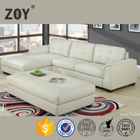 Big White Leather Corner Sofa Zoy-96090