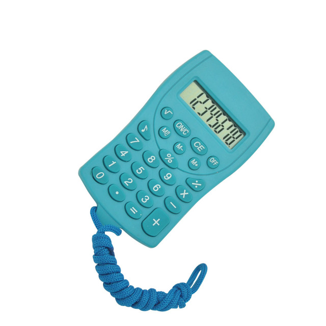 8 Digits Electronic Pocket Calculator, Calculator with Hook, Mini Novelty Calculator with Rope
