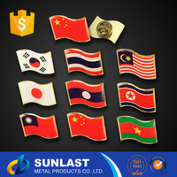 Free moulc charge ! have stock ! SUNLAST 3cm Round Flag Epoxy lapel pin Wholesale XOEM1600