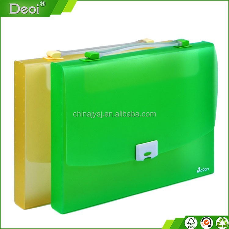 custom made high-quality pencil box pp plastic clear yellow green color stationery box with handle