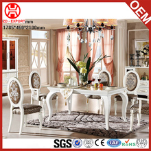 High quality solid wood white antique square table dining room furniture set with chairs