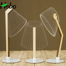 Hot Sale Modern Acrylic Wood 3D Illusion Led Table Night Lamp