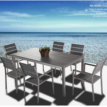 Anodized Aluminium Frame Plastic Wood Outdoor Patio Furniture Luxury Garden Dining Table Sets