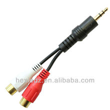 3.5mm Jack to 2 x RCA Phono Audio Cable Gold Lead Connector