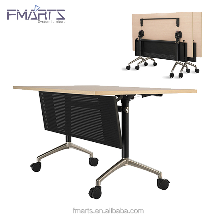 Movable Off White Color Simple Design Melamine Flip Top Folding Office Table With Flap