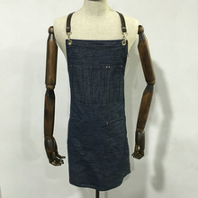 hot sale custom washable denim barista apron