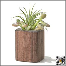 Flower pot for sale wooden style cement indoor garden planters,Wooden potted