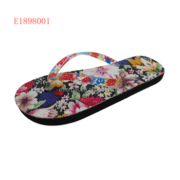 Ladies EVA Flip Flops With Flower Printed