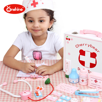 children toys new 2016 style Cherry Bear Simulation Medical Toolbox Suits Toy Doctor Kit