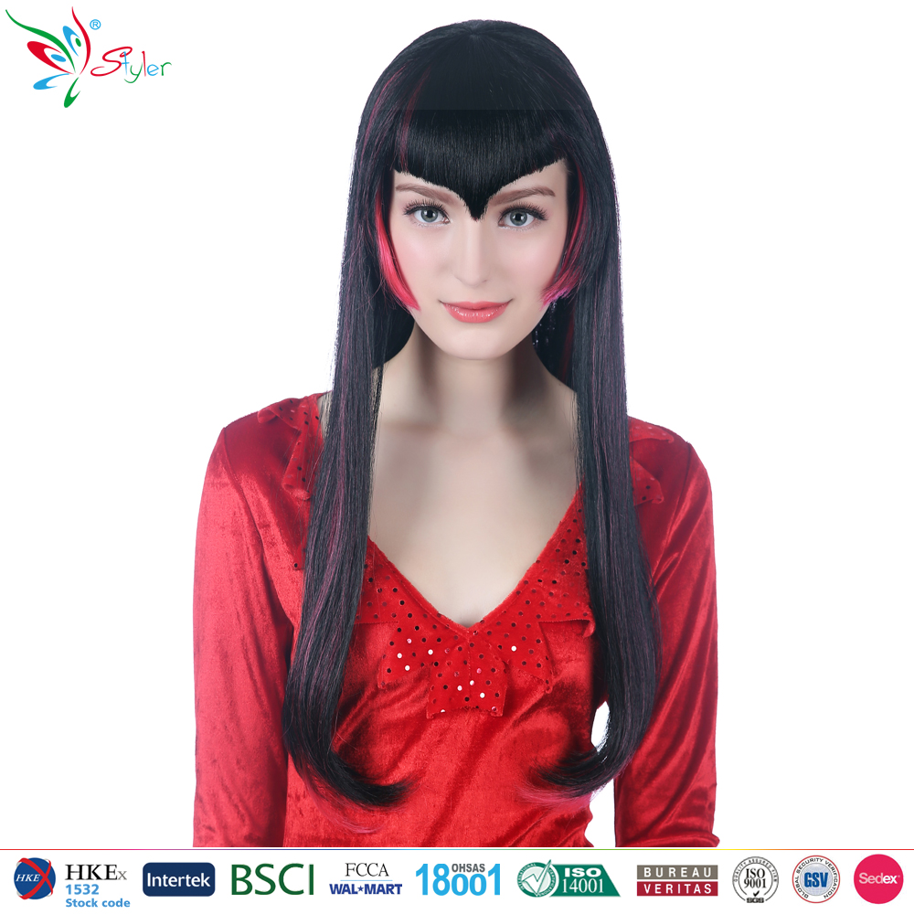 synthetic long black straight hair with red streaks gothic vampire wig