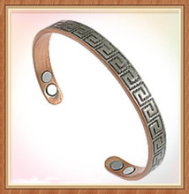 High Quality online wholesale greek style Vintage Copper Cuff with 4 magnets come from guangzhou jewelry market