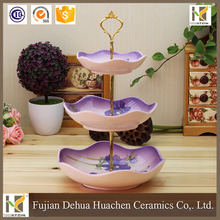 Wholesale Wedding Elegant 3 Layer Antique ceramic Cake Stand Decorative Plates