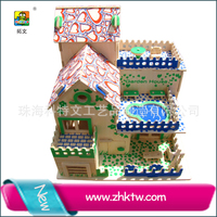 2016 Cotowins Promotional Novelty Small wooden Custom Colorful Mini house Toys