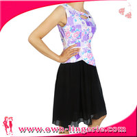 violet Pink floral printed top Strapless A-line Short Cocktail Dress patchwork chiffon bottom