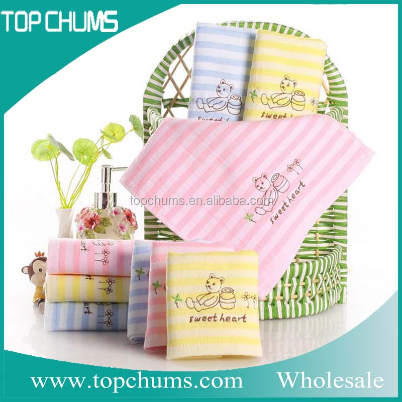 Good quality baby kids wash face hand cute organic cotton Embroidery towel