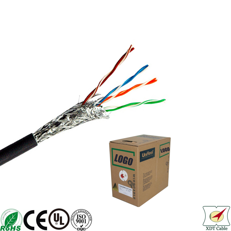 Lowest price 305m CMR rated 0.5mm Copper shielded cat5 cable