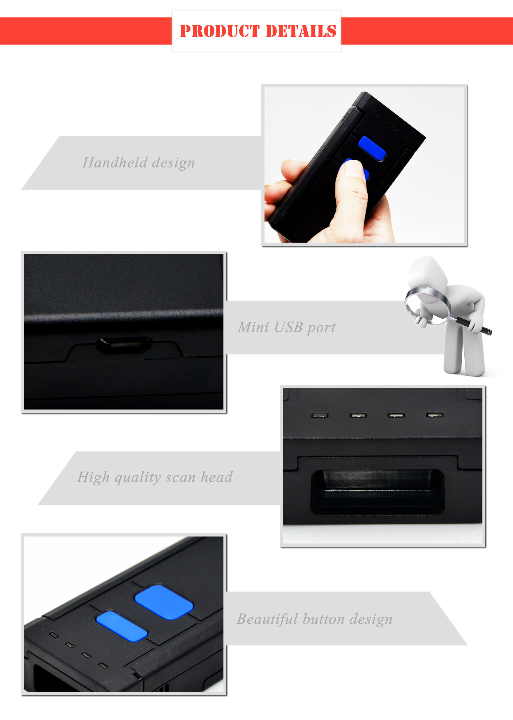 Mini 2d CCD  Manufactures Android  Bluetooth Barcode Scanner /Portable Handheld Wireless  Barcode Scanner