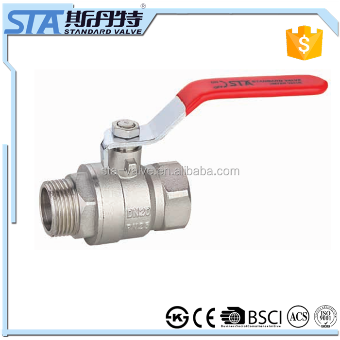 "ART.1010 Full Port 3/4"" BSP female Thread Turn to 3/4"" BSP male Thread Brass Ball Valve with lever handle for water gas oil air"
