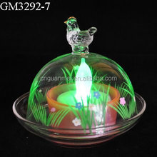 Glass rooster dome candle holder