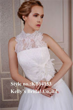 new model 2014 halter high collar neck lace flowers feather belt crystal wedding dress decor