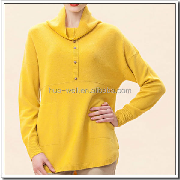 2015 Spring pop pattern mock neck cashmere pullover sweater