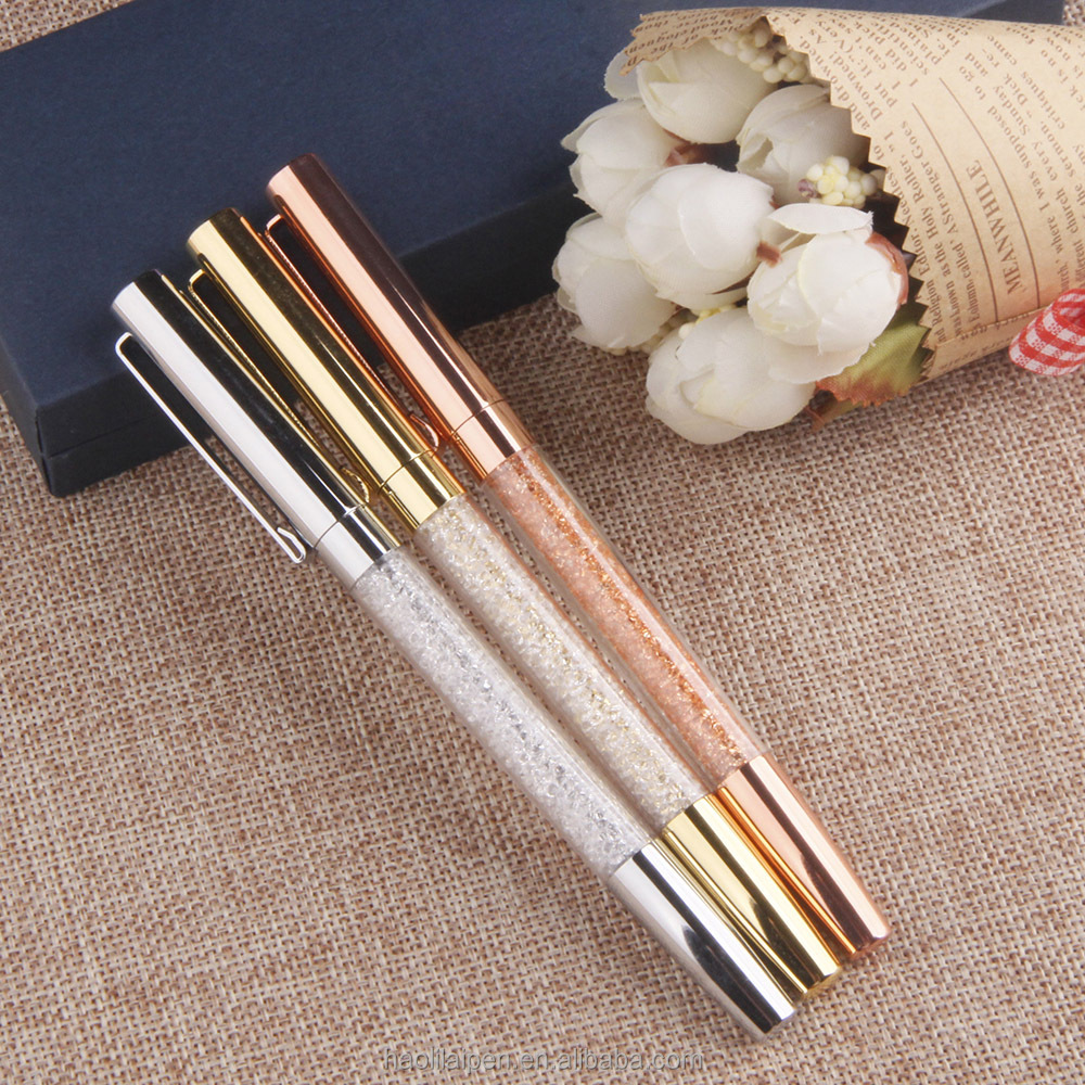 Wedding return gifts jewelled promotional crystal pens with company logo copper free ink roller ball pen metal crystal ball pen